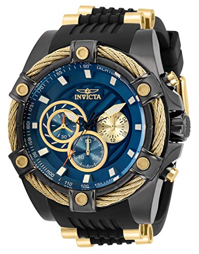 Invicta Men's Bolt Japanese Quartz Watch with Silicone, Stainless Steel Strap, Black, Gold, 26 (Model: 32696)