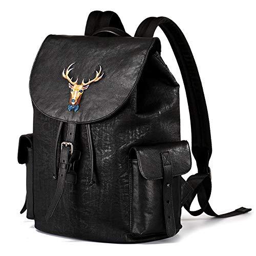 Mens Leather Backpack Shoulder Bag School Travel Backpack Business Work Pack Fashion Travel Bag Simple Casual Bag Deer Head 3D Daypack - Black - One size