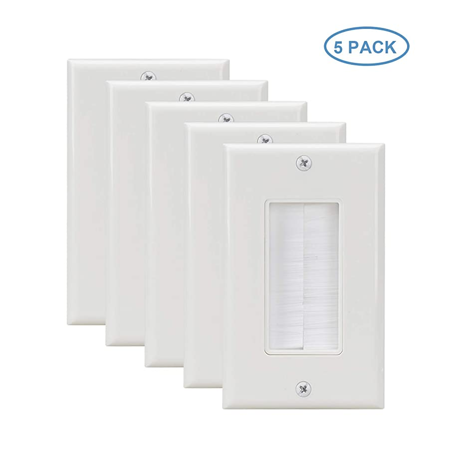 Brush Wall Plate 5 Pack Single Gang,Cable Cover Brush Style Opening Passthrough Low Voltage Cable Plate in-Wall Installation for Speaker Wires,Coaxial Cables, HDTV HDMI Home Theater Systems