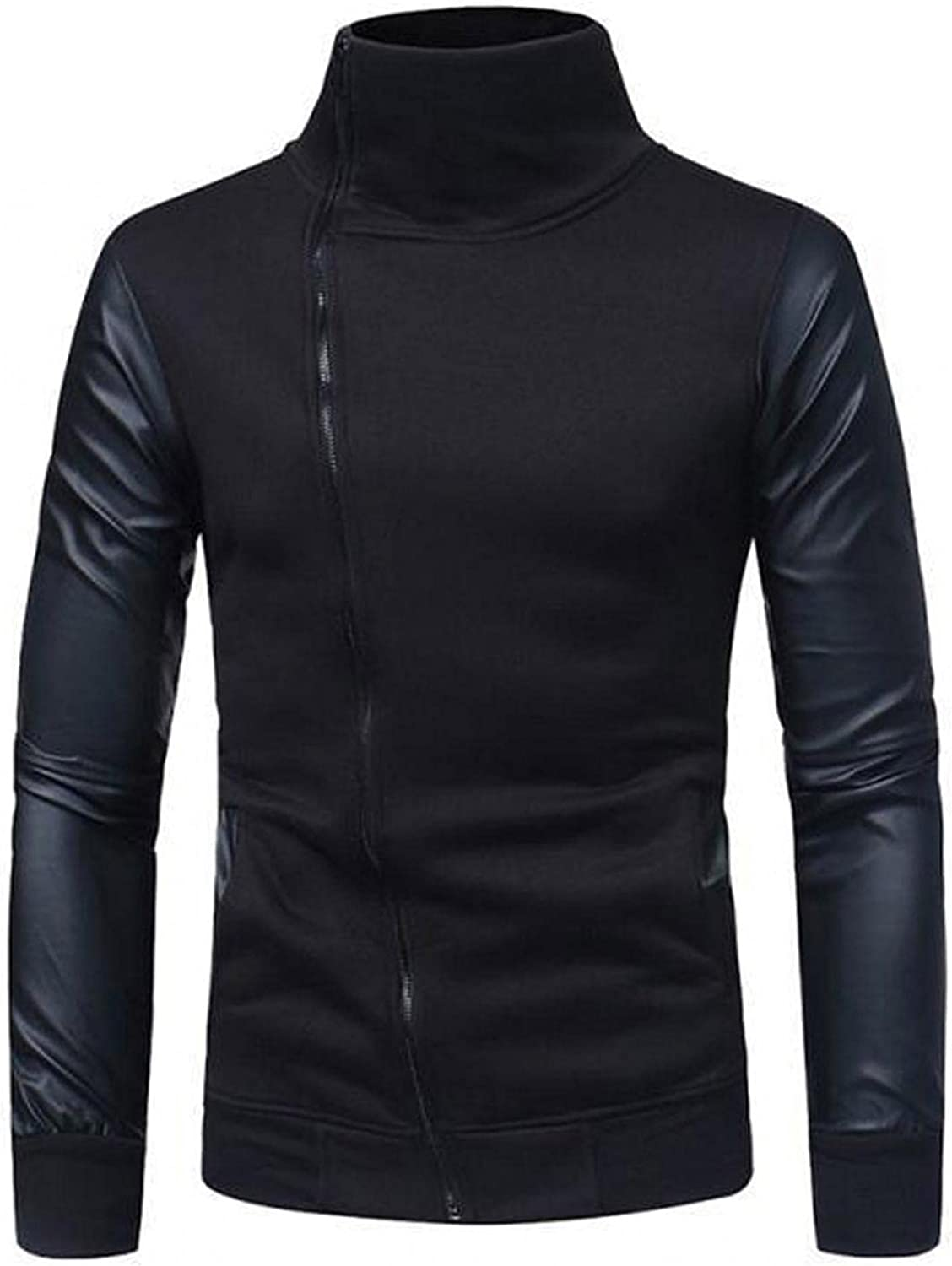 Burband Mens Vintage Turtleneck Sweaters Zip Up Faux Leather Jackets Motorcycle Racer Biker Stand Collar Bomber Jackets
