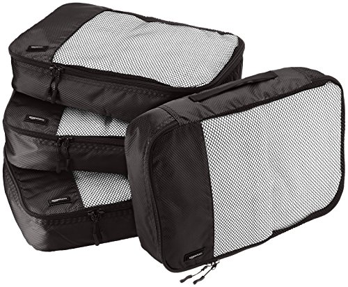 AmazonBasics 4 Piece Packing Travel Organizer Cubes Set - Medium, Black