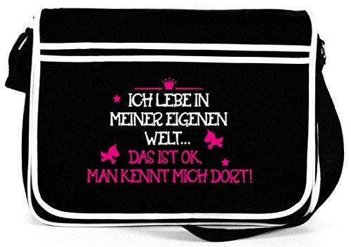 Shirtstreet24, Meine eigene Welt, Unicorn Einhorn Retro Messenger Bag Kuriertasche Umhängetasche, Größe: onesize,Schwarz