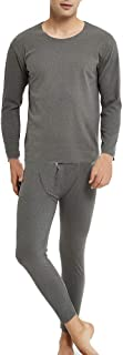 Men Big & Tall Seamless Thermal Underwear Set Winter Warm Long Sleeve T-Shirt Top & Pants Bottoms Suit for Workout Skiing ...