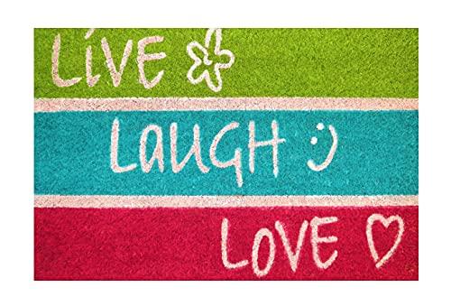 Felpudo de Coco Natural, felpudos Entrada casa, Alfombra Limpia Zapatos, Felpudo Exterior, Alfombra Entrada casa Interior, felpudos Originales y Divertidos, 40x60 (Live Laugh Love)