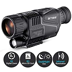 BNISE Digital Night Vision Monocular Infrared Camera - 8X40 HD Night Vision Goggles with 8G TF Card for Adults Night Hunting and Wildlife 100% Darkness