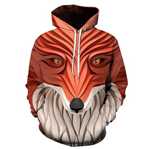 Europe and America - Sudadera con capucha con estampado de cabeza de zorro abstracto en 3D