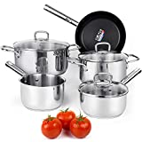 Viewee Cookware Set Stainless Steel Pots and Pans Sets with Nonstick Coated Skillet 8-Piece...