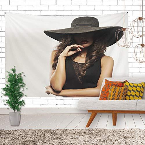 Tapestry Wall Hanging Kontemplative Schwarze Kappe Schöne Frau 3D Gedruckt Größe Plane Böhmisches Hippie -Zy 812924 - Hängende Tuch Für Studentenwohnheim Zimmer Wanddekoration-60×80In(150×200Cm)