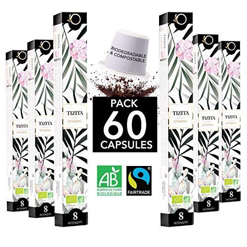 ☘️ Capsulas Nespresso Compatibles | Capsulas cafe ECOLÓGICAS Arabica FAIRTRADE Biodegradables | TIZITA Single Origin Etiopía (Moka), 60 capsulas de cafe | Torrefacción Artesanal