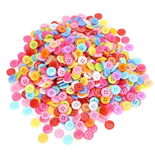 Botones redondos de resina de varios tamaños, 1000 piezas, botones creativos, accesorios de ropa, para manualidades, manualidades, pintura manual de botones de costura (12 mm)