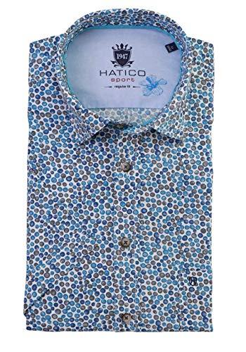 Hatico Regular Fit Hemd Halbarm New Kent Kragen Muster dunkelblau Größe L