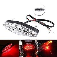 オートバイは信号を回します オートバイリアテールストップ赤いライトランプ汚れのティーチロライトリアランプブレーキライトオートアクセサリーオートバイ装飾ランプ (Color : Transparent)