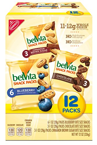 belVita Bites Variety Snack Packs - Mini Breakfast Biscuits, 12 Count Box, 12 Ounce