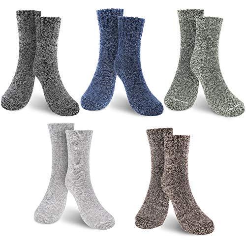 WOSTOO Herren Crew Socken Erweiterte dickere Version Holders Sports Ski Work Socken, 5 Paar Mehrfarbig, Einheitsgröße