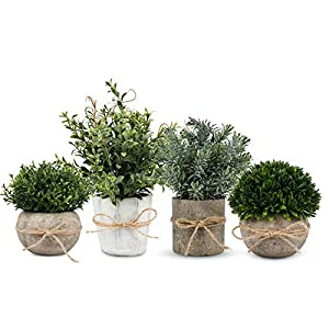 Artificial Plant, 4 Pcs Mini Plants Artificial Potted Set Fake Green Grass Faux Plastic Seven-Layer Grass Rosemary Topiary Shrubs for Home Office Desk , Kitchen Counter Decoration