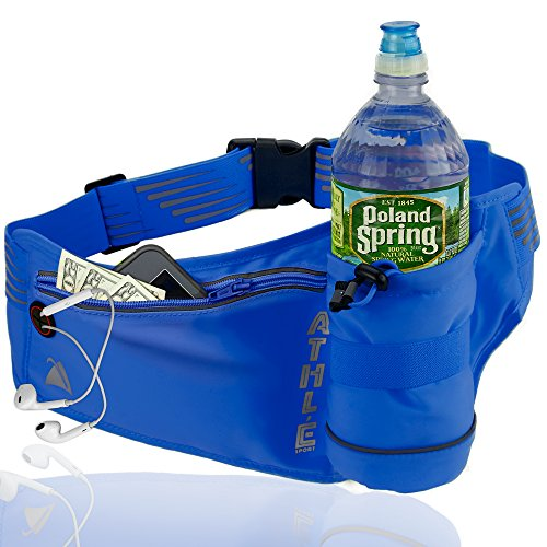 Athlé Running Fanny Pack with Water Bottle Holder - Adjustable Run Belt Storage Pouch with Zipper Pocket for Sports and Travel – 360° Reflective Band – Fits iPhone Plus, Galaxy Note – Blue