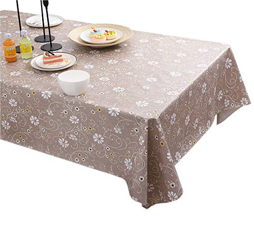 Yafe Waterproof Vinyl Tablecloth,Heavy Duty,Oilproof, Wipeable,Stain-Resistant,Table Cover Rectangle or Square Elegant Plastic Table Cloths (Flowers, 54X72 Inch)