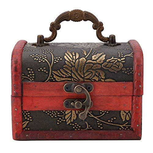 12 x 8 x 8 cm Mini caja de almacenamiento de madera Contenedor de caramelos Contenedor de collar vintage de estilo europeo (