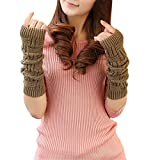 LroHan Damen Strickhandschuhe, lange Armwärmer, Daumenloch, fingerlos Gr. Einheitsgröße, khaki