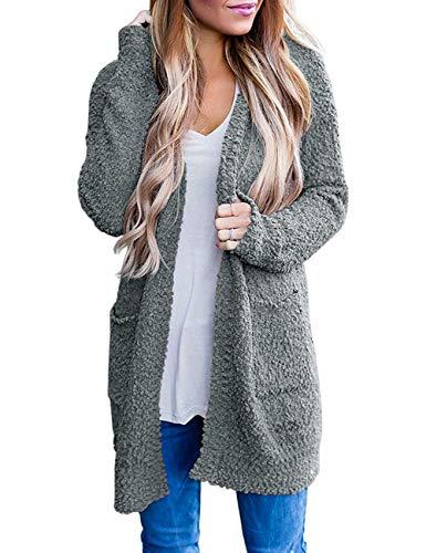 TECREW Women's Fuzzy Popcorn Cardigan Batwing Sleeve Open Front Chunky Pockets Sweater Outwear