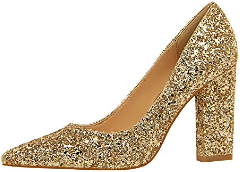 FLYRCX Dick mit Pailletten Hochzeit Schuhe Damenmode Temperament High High Heels Spitze einzelne Schuhe Arbeitsschuhe  praktisch
