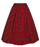 Hell Bunny Jupe Irvine Femme Jupe mi-Longue Rouge 4XL, 65% Polyester, 35% Viscose,