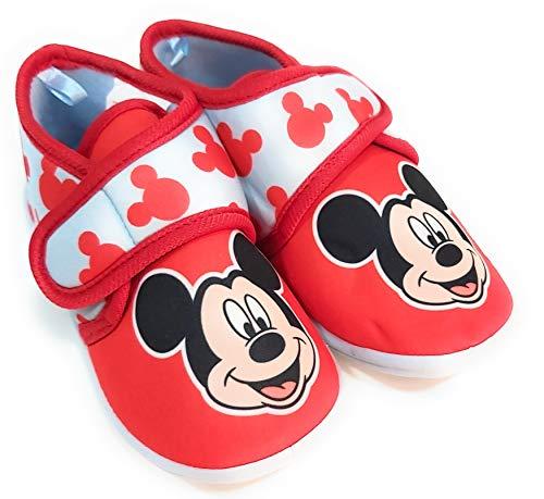 Zapatillas Mickey Mouse de Estar por Casa - Zapatillas Disney Mickey Mouse Niños Pantuflas Media Bota Velcro (Numeric_24)
