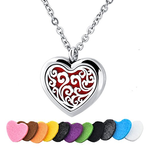 Long Way Stainless Steel Essential Oil Diffuser Necklace Air Freshener Aromatherapy Locket Pendant Necklace with Chain&Pads (Lucky Cloud)