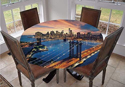 Angel Bags Landscape Round Tablecloth,American City Sunset Over Manhattan and Brooklyn Bridge Cityscape Picture Print Polyester Table Cloth,36 Inch,for Indoor and Outdoor Events Gold Navy