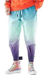 Doufine Men's Casual Hip-Hop Hit Color Harem Pants Gradual Running Trousers