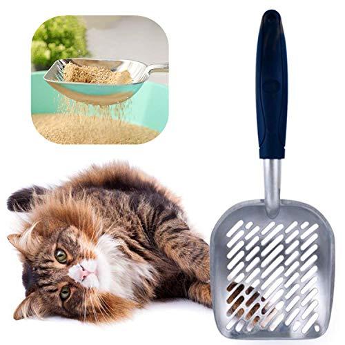 Pala de Basura para Gatos Cuchara para Gatos Recogedor de Arena para Gatos, Cucharada Metal con Mango Largo Cómodo para Gatito Gato Mascotas (Azul Oscuro)