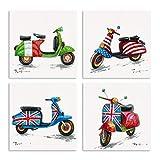 B BLINGBLING Motorrad-Bilder, Wandkunst: gedruckte Nationalflagge auf winzigem Motorrad, ästhetische Raumdekoration, Wohnzimmer-Dekor mit Rahmen, mühelosaufzuhängen, 4er-Set (30,5 x 30,5 x 4 Paneele)