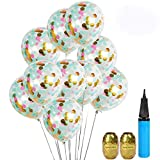 UTOPP 20 Pack Unicorn Confetti Balloons Tiffany Blue Pink and Gold 12' Clear Balloons Aqua Blue Gold Confetti Party Supplies for Valentines Wedding Bday Bachelorette Graduation Party Decorations