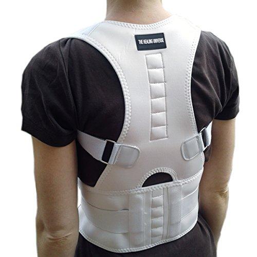 The Healing Universe - Kyphosis Bandage - Für eine Geradehaltung des Rückens und der Schultern (White, XL (Taille 92-102 cm Höhe 48 cm))