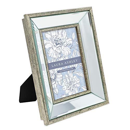 Laura Ashley Bilderrahmen, 10 x 15 cm, abgeschrägter Spiegel, klassischer Spiegelrahmen mit tiefem abgeschrägtem Winkel, Wandmontage, für Tisch-Display, Fotogalerie und Wandkunst, silberfarben