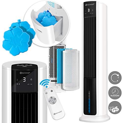 KESSER® 4in1 Mobile Klimaanlage Tower Klimagerät Ventilator/Luftkühler/Luftbefeuchter/Ionisator, mit Fernbedienung, Timer, Wassertank, 60W, Klima, 2 Kühlakkus, turmventilator Weiß/Schwarz