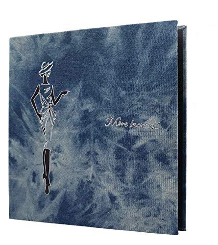 SEEALLDE Fotoalbum zum Selbstgestalten Fotoalbum Denim Cover Magnetic Scrapbook, Denim Hardcover Große Fotoalben 6x4 120 Fotos,20 Blatt Dicke Seiten mit Schutzfolie,11x11 Zoll