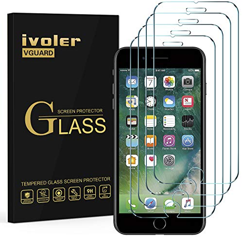 iVoler [4 Pack] Pellicola Vetro Temperato per iPhone 8 Plus/iPhone 7 Plus/iPhone 6S Plus/iPhone 6 Plus, Pellicola Protettiva, Protezione per Schermo - Transparente