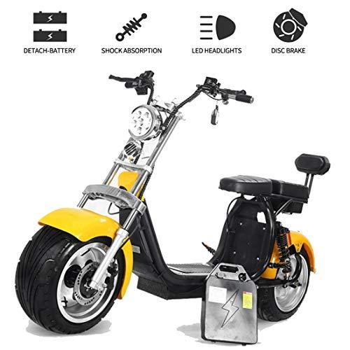 Takmeway Motocicleta eléctrica 2000W de Bicicleta eléctrica de 8 Pulgadas Fat Tire Scooter eléctrico Vehículo de presión hidráulica del Freno de Disco de la Motocicleta para Adultos,1500W20A