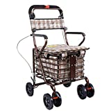 Carrito Compras portátil para Ancianos,Andador con Ruedas Plegable con Frenos,Ruedas giratorias y Bolsas Compras Impermeables Gran Capacidad