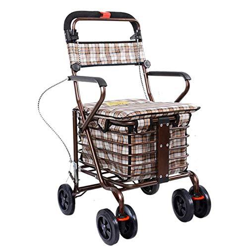 Älterer tragbarer Einkaufswagen Faltbarer Rollator mit Rädern,drehbaren Rädern und Wasserdichten Einkaufstaschen mit großer Kapazität