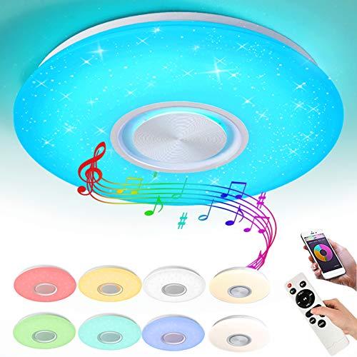 Style home 24W Bluetooth Deckenleuchte LED RGB Deckenlampe, Farbwechsel dimmbar mit Fernbedienung & APP, moderne Leuchte für Wohnzimmer Kinderzimmer Schlafzimmer (400 x 55 mm)