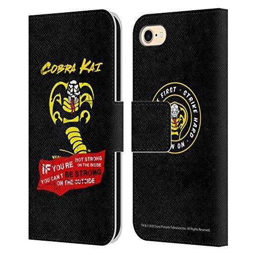 Head Case Designs Oficial Cobra Kai Be Strong Logo Composed Art Carcasa de Cuero Tipo Libro Compatible con Apple iPhone 7 / iPhone 8 / iPhone SE 2020