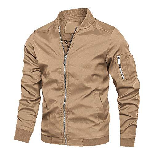 MAGCOMSEN Herren Bomberjacke Übergangsjacke College Jacket Fliegerjacke Polyester Jacken für Männer Leicht Blouson Multi Taschen Armeejacke Feldjacke Khaki L (Etikett: XL)