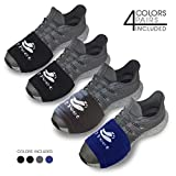 2 FEET Socks for Dancing on Smooth Floors, Dance Socks Over Sneakers, Smooth Pivots and Turns to Dance with Style on Wood Floors, Protect Knees (Black, Black, Dark Grey, Dark Blue)