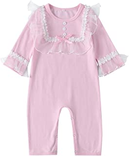 Xifamniy Infant Babies Romper Long Sleeve Solid Color Round Neck Girls Lace Jumpsuit