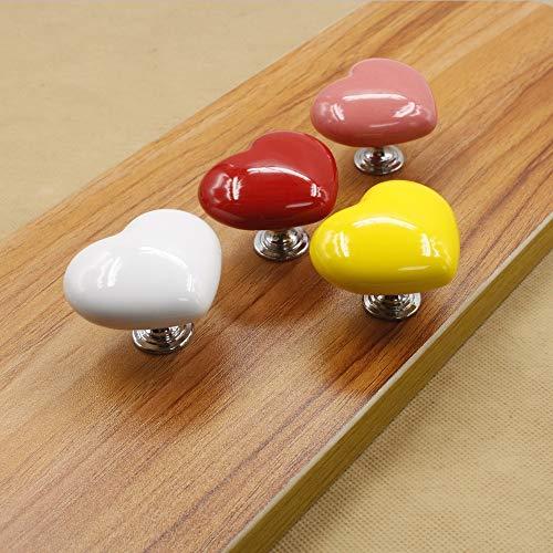 Set van 10 keramische knopen met hartvormige keramische handgreep, kledingkast, ladekast, deur, modern, minimalistische montage in één gat, meubel-hardware greep, klassiek, elegant en eenvoudig