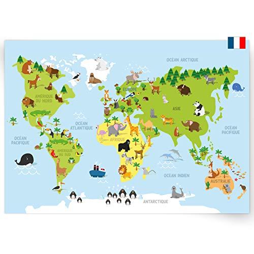 kizibi® Poster carte du monde en français, poster décoration murale pour filles et garçons, décoration murale apprendre les continents, carte du monde chambre d'enfant