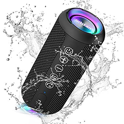 Ortizan Bluetooth Speaker, IPX7 Waterproof Portable Wireless Outdoor Speakers with LED Light, 24W Stereo Sound and 30H Playtime, 20 Meter Bluetooth Range, Mini Speakers with TWS, TF Card and AUX from Ortizan