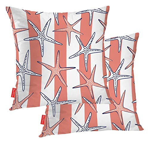 BaoNews Coastal Nautical Decorative Pillow Covers, Sea Star Beach Pattern. Pink Coral and White Stripes Pillow Covers 20X20 Inch Cotton Square Cushion Decorative Pillow Case for Sofa Bed